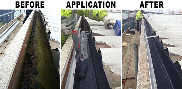 continuous guttering before and after install