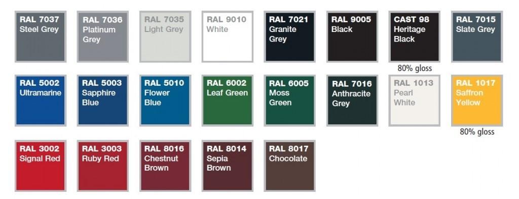 aluminium guttering colours
