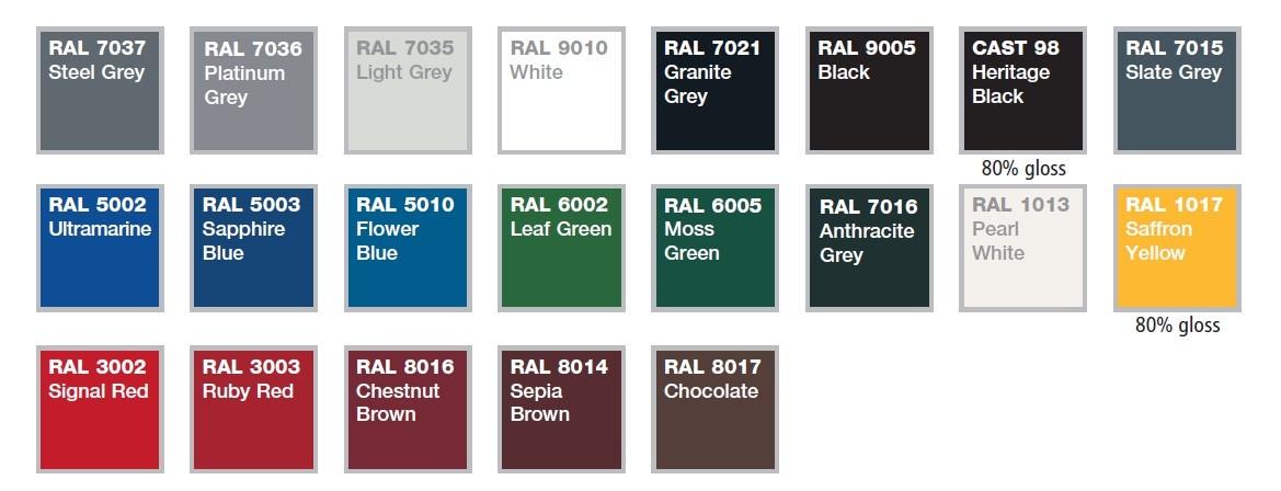 aluminium gutter colours