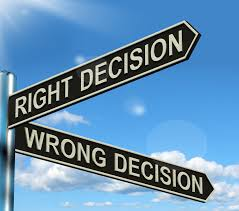 right and wrong decision sign posts