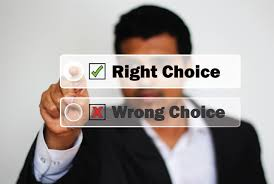 right choice and wrong choice with tick boxes