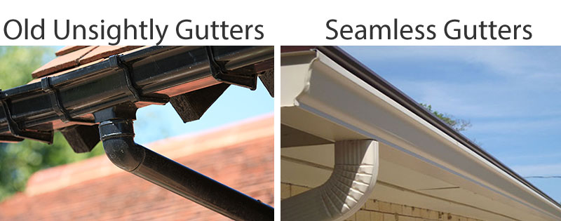 seamless Guttering before and after